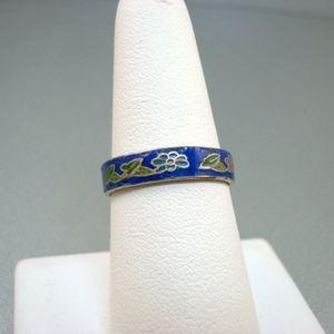Vintage Cobalt Blue Cloisonne Ring
